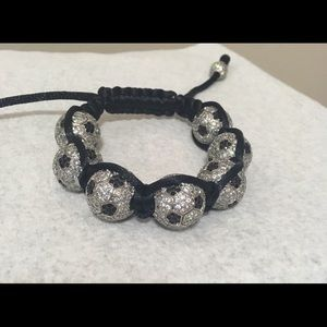 Soccer ball bracelet with crystals/black rope! 💥